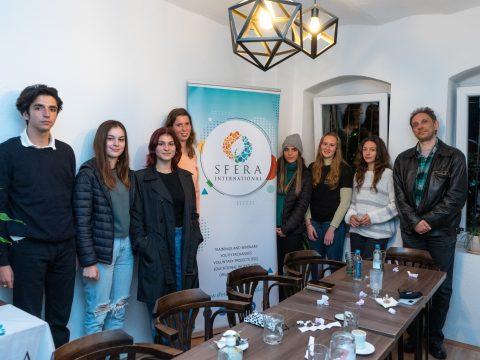 Deep Talk attendants with the SFERA banner